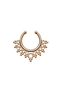 Vintage Rose Gold Geometric Decorated Hollow Out Pure Color U Shape Nose Ring