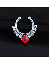 Vintage Red Diamond Decorated U Shape Simple Nose Ring