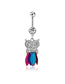 Cute Multi-color Owl Shape Pendant Decorated Tassel Belly Button Ring