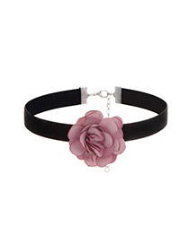 Sweet Purple Flower Decorated Simple Pure Color Chocker
