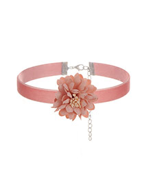 Sweet Pink Flower Decorated Simple Pure Color Chocker