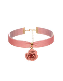 Sweet Pink Flower Pendant Decorated Pure Color Chocker