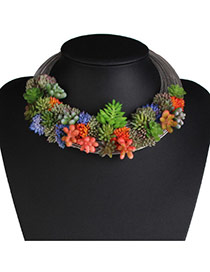 Exaggerate Multi-color Simulation Flowers Plant Decorated Multilayer Necklace