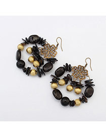 Vintage Black Multielement Decorated Hollow Out Round Earring