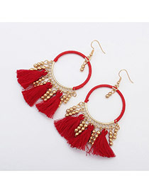 Vintage Red Tassel Pendant Decorated Roun Shape Earring