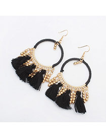 Vintage Black Tassel Pendant Decorated Roun Shape Earring