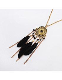 Fashion Black Feather&long Tassel Pendant Decorated Simple Necklace