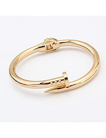 Fashion Gold Color Pure Color Decorated Simple Nail Bracelet