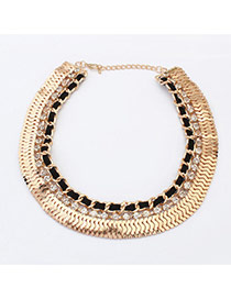 Retro Gold Color +black Diamond Decorated Short Chain Collar Necklace