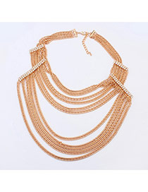 Exaggerate Gold Color Diamond Decorated Multilayer Short Chain Necklace