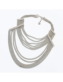 Exaggerate Silver Color Diamond Decorated Multilayer Short Chain Necklace