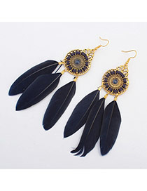 Fashion Dark Blue Three Feather Pendant Decorated Tassel Earring