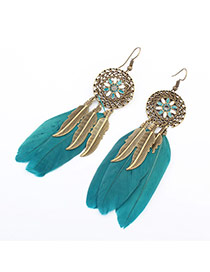Fashion Green Hollow Out Round Decorated Feather&leaf Tassel Earring