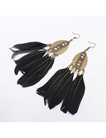 Fashion Black Rivet Decorated Feather Tassel Pendant Earring