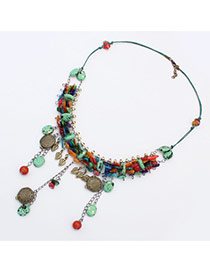 Fashion Light Green Shell Weaving Tassel Pendant Decorated Short Chain Necklace