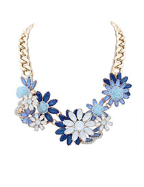 Elegant Blue Hollow Out Flower Decorated Short Chain Simple Necklace