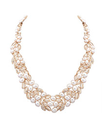 Fashion Gold Color Hollow Out Leaf&pearl Decorated Short Chain Simple Necklace