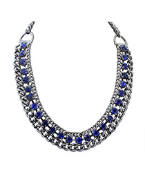 Fashion Blue Square Shape Diamond Decorated Hollow Out Chain Necklace