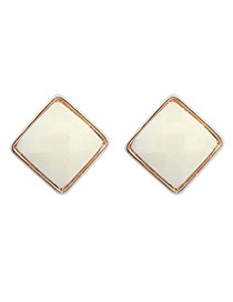 Elegant White Pure Color Decorated Square Simple Earrings