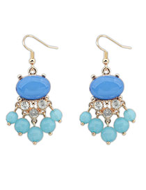 Fashion Blue Diamond Decorated Tassel Simple Earrings