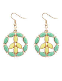 Fashion Light Green Whaterdrop Shape Gemstone Decorated Round Earrings