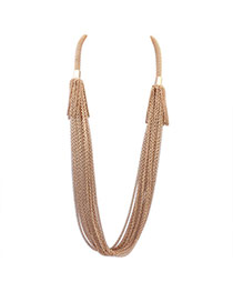 Exaggerate Gold Color Pure Color Decorated Long Tassel Necklace