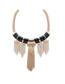 Exaggerate Gold Color +black Triangle Shape Decorated Tassel Necklace