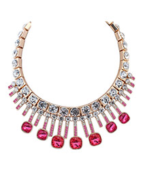 Exaggerated Plum Red Geometric Shape Diamond Decorated Simple Necklace