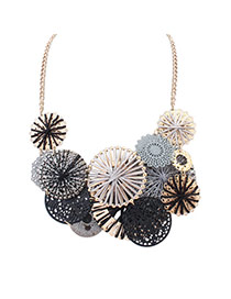 Cute Black Hollow Out Round Shape Weaving Decorated Simple Necklace