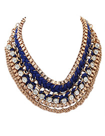 Exaggerated Blue Square Diamond Decorated Hand-woven Collar Necklace