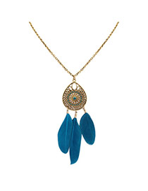Fashion Blue Feathers Pendant Decorated Hollow Out Water Drop Shape Necklace