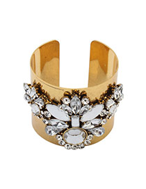 Exaggerated White Oval Shape Diamond Decorated Opening Simple Bracelet