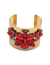 Exaggerated Red Oval Shape Diamond Decorated Opening Simple Bracelet