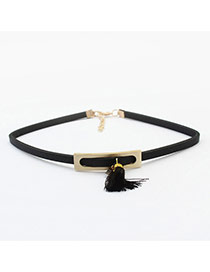Fashion Black Hollow Out Square Shape&tassel Decorated Simple Necklace