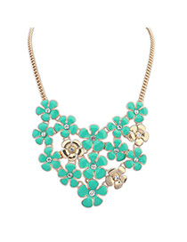 Delicate Blue+gold Color Flower Shape Diamond Decorated Short Chain Necklace