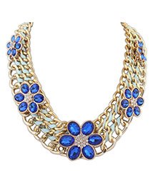 Delicate Sapphire Blue+gold Color Flower Shape Gemstone Decorated Hand-woven Short Chain Chain Necklace