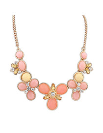 Elegant Orange+pink Round Gemstone Flower Shape Decorated Simple Necklace