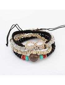 Vintage Black Sunglass Shape Decorated Multilayer Bracelet
