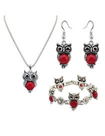 Vintage Red Owl Shape Pendant Decorated Simple Jewelry Sets