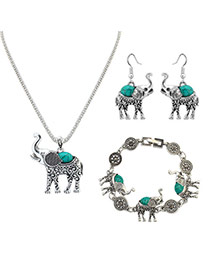 Vintage Green Elephant Shape Pendant Decorated Simple Jewelry Sets