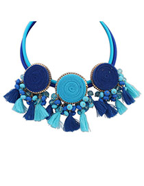 Vintage Dark Blue+light Blue Tassel&diamond Decorated Round Shape Design Double Layer Necklace