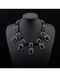 Fashion Black Geometric Shape Gemstone Decorated Short Chian Simple Necklace