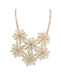 Sweet Light Yellow Diamond Decorated Flower Shape Hollow Out Design Simple Necklace