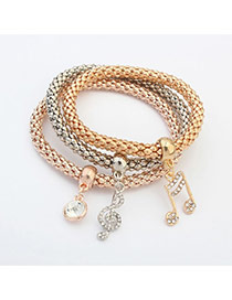 Fashion Multi-color Music Note Shape Pendant Decorated Color Matching Multi-layer Bracelet