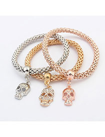 Fashion Multi-color Skull Shape Pendant Decorated Color Matching Multi-layer Bracelet