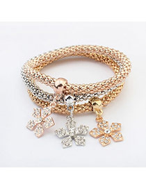 Fashion Multi-color Flower Shape Pendant Decorated Color Matching Multi-layer Bracelet