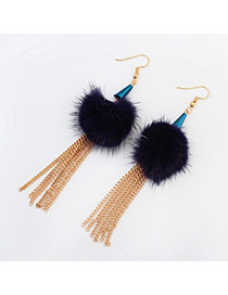 Fashion Dark Blue Feather Decorated Simple Tassel Earrings