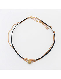 Trendy Gold Color Round Shape Pendant Decorated Double Layer Choker