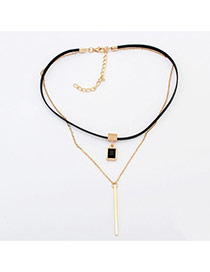 Trendy Gold Color Long Strip Pendent Decorated Double Layer Choker