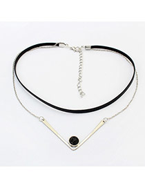 Fashion Silver Color+black Round Shape Decorated Double Layer Simple Choker